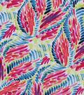 Silky Print Rayon Fabric 53\u0027\u0027-Red Brushstroke Leaves
