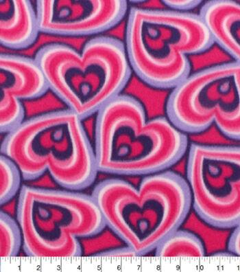 """Blizzard Fleece Fabric 59""""-Pink Purple Hearts"""