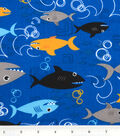 Novelty Cotton Fabric -Sharks on Blue