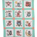 Fairway Needlecraft 12 pk 9\u0027\u0027x9\u0027\u0027 Stamped Baby Quilt Blocks-Owls