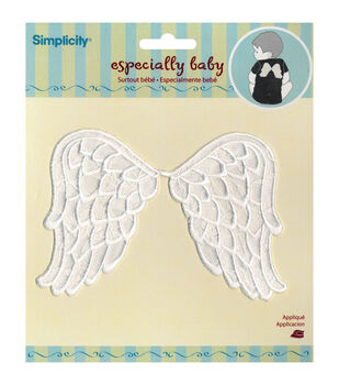 Simplicity Esepcailly Baby Iron-On Applique-White Angel Wings
