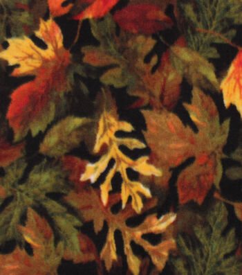 """Anti-Pill Plush Fabric 58""""-Packed Fall Leaves"""