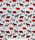 Snuggle Flannel Fabric -Checked Animals on Stripes