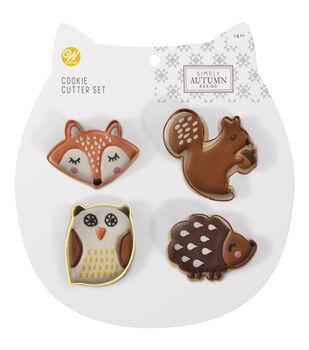 Wilton Simply Autumn 4pc Cookie Cutter Set-Fox Squirrel Owl Hedgehog