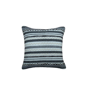 Hudson 43 Rustic 18''x18'' Textured Stripe Pillow-Cream & Black