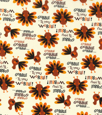 "Harvest Cotton Fabric 43""-Gobble Til You Wobble"