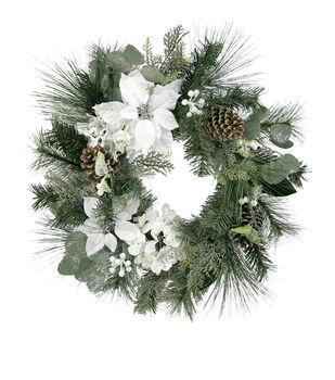 Handmade Holiday Christmas Berry, White Poinsettia & Hydrangea Wreath