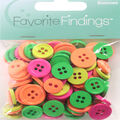 Favorite Findings 130 pk Round Buttons-Neon