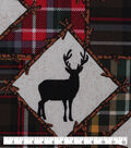 Novelty Cotton Fabric-Framed Moose Patchworks on Plaid