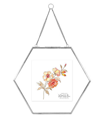 Pressed Glass & Metal Hexagonal Float Picture Frame 10''x11.5''-Silver