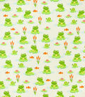 Snuggle Flannel Fabric-Frogs And Turtles On Lily Pads