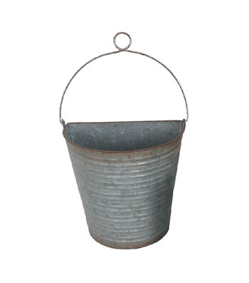 Bloom Room Large Metal Wall Bucket with Wire Hanger