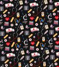 Novelty Cotton Fabric-Medical Icons