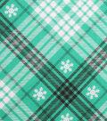 Holiday Showcase Christmas Cotton Fabric 43\u0027\u0027-White Snowflakes & Black/White Plaid