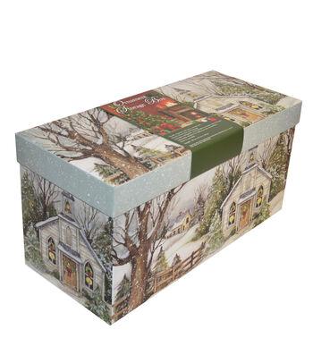 Christmas Medium Ornament Storage Box-Evergreen Christmas