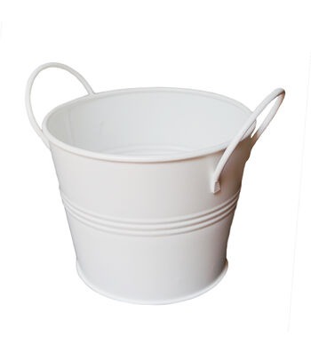 Hampton Art Galvanized Bucket with Handles-White