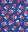 Keepsake Calico Cotton Fabric-Dots & Red Roses on Blue