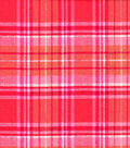 Snuggle Flannel Fabric-Beetroot Coral Distressed Plaid
