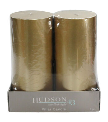 Hudson 43 Candle & Light Collection 2  Pack 3X6 Gold Pillar