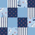 Nursery Fleece Fabric-Sailors & Dogs 3D Patches