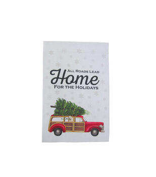 Handmade Holiday Flag-Wood Car & All Roads Lead Home for the Holidays
