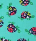 Blizzard Fleece Fabric -Flower Power Turtle