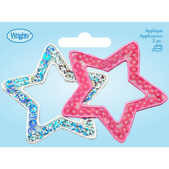 Wrights Iron-On Applique-Stars-Silver/Pink-2 pc