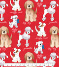 Anti-Pill Fleece Fabric 58\u0022-Red Dog Print