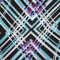 Fast Fashion Knit Fabric-Purple & Green Abstract Diamond