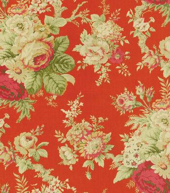 """Waverly Upholstery Fabric 54""""-Sanctuary Rose/Crimson"""