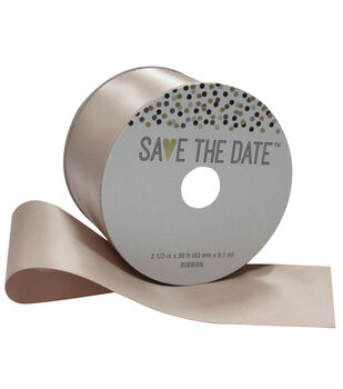 Save the Date 2.5'' X 30' Ribbon-Nude Satin