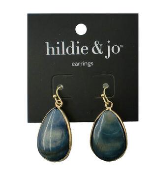 hildie & jo Teardrop Antique Gold Earrings-Blue Shell