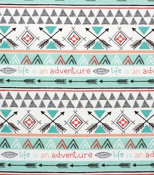 Nursery Flannel Fabric-Arrows of Adventure Stripe
