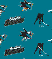 San Jose Sharks Fleece Fabric -Tossed, , hi-res