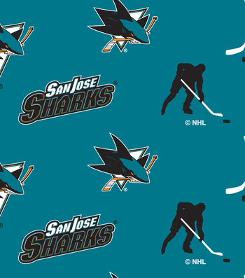 San Jose Sharks Fleece Fabric -Tossed