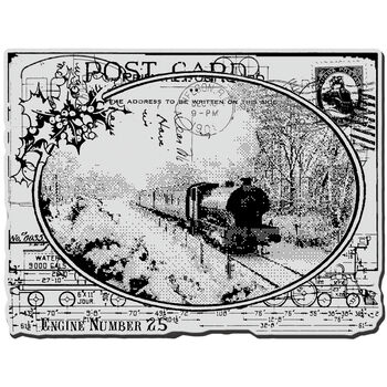 Train Card-cling Rubber Stamp