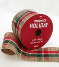 Maker\u0027s Holiday Christmas Ribbon 2.5\u0027\u0027x25\u0027-Red & Green Textured Checks