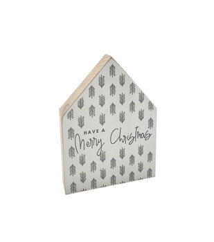 Handmade Holiday House Block Tabletop Decor-Have a Merry Christmas
