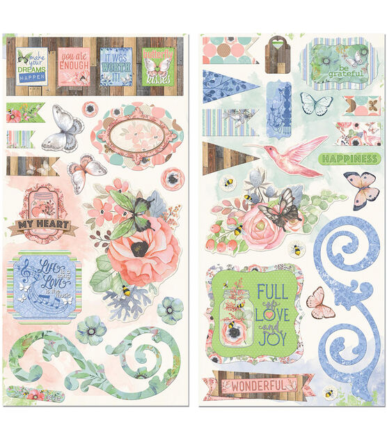 Butterfly Kisses Chipboard Stickers 6''X12'', , hi-res, image 1
