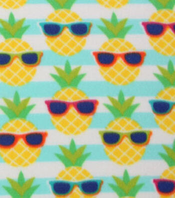 "Blizzard Fleece Fabric 59""-Nerdy Pineapples"