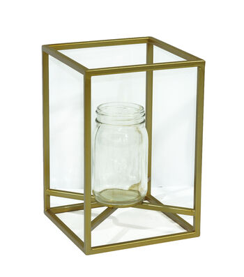 Bloom Room Metal Planter with Jar-Gold & Clear