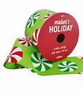 Maker\u0027s Holiday Christmas Ribbon 2.5\u0027\u0027x25\u0027-Tossed Peppermints on Lime