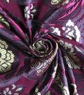 Casa Embellish Brocade Fabric -Rich Purple Wallpaper