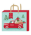American Crafts Large Gift Bag with Tag-Santa Truck-Gold Glitter Accent