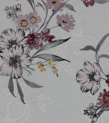 Silky Chiffon Fabric-Mauve Bouquet on Ivory