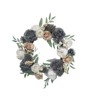 Blooming Autumn 24'' Gray Peony & Berry Wreath