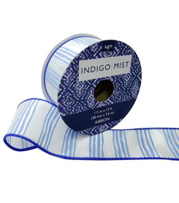 Indigo Mist Ribbon 1.5''x12'-Water Color Stripes