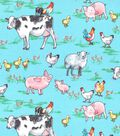 Novelty Cotton Fabric -Watercolor Farm Animals