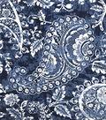 Summer Ponte Knit Fabric 57\u0027\u0027-Blue Cracked Paisley