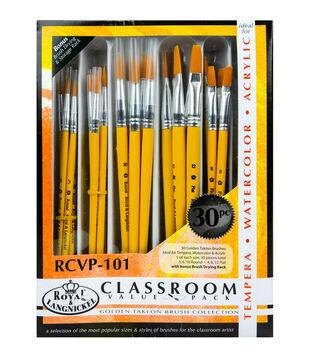 Royal & Langnickel Golden Taklon Brush Classroom Value Pack